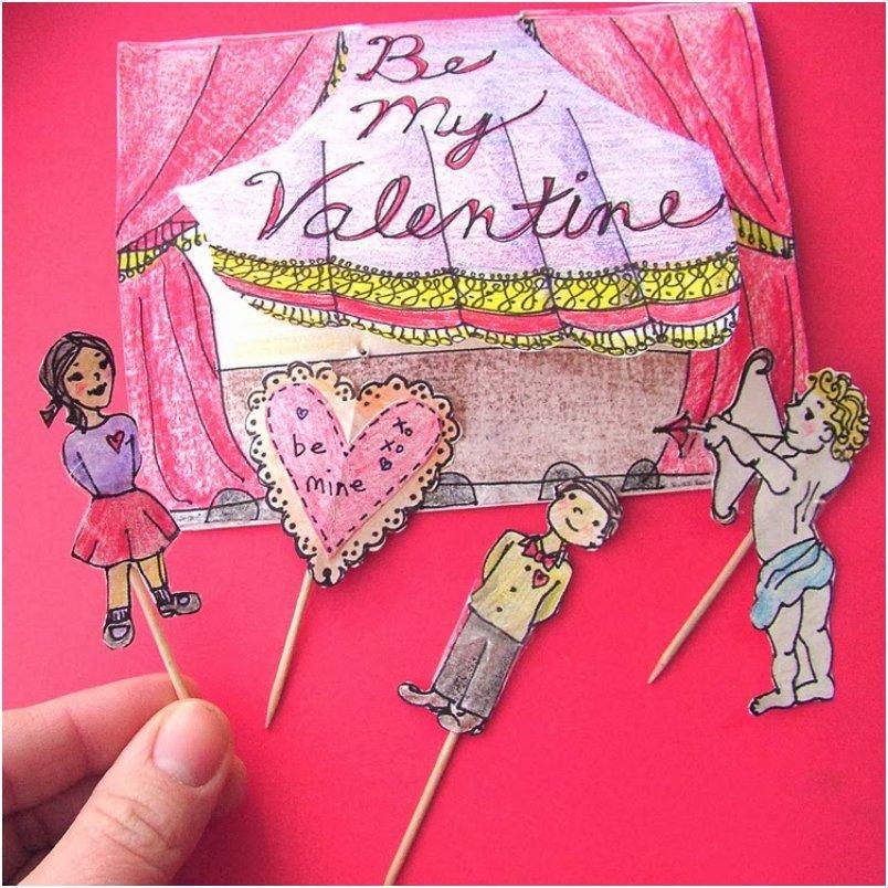 Stick Puppet Stage Valentine