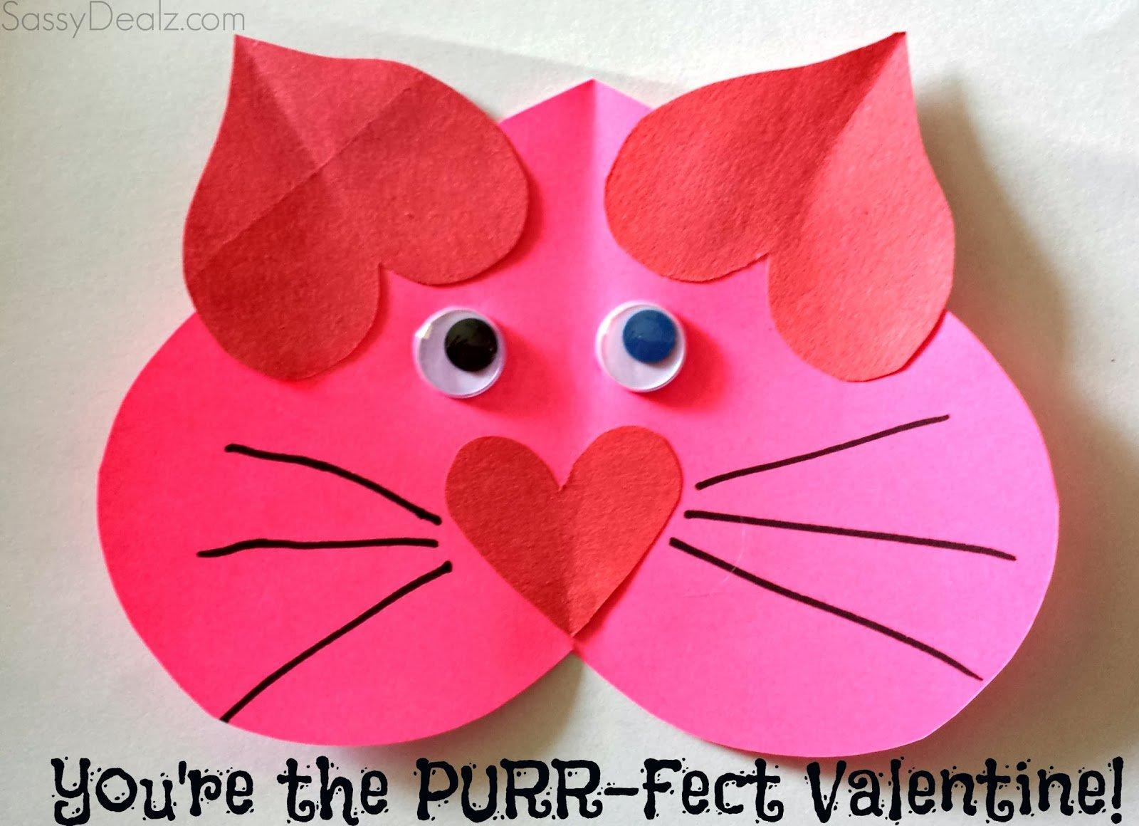 Valentine Heart Cat Craft