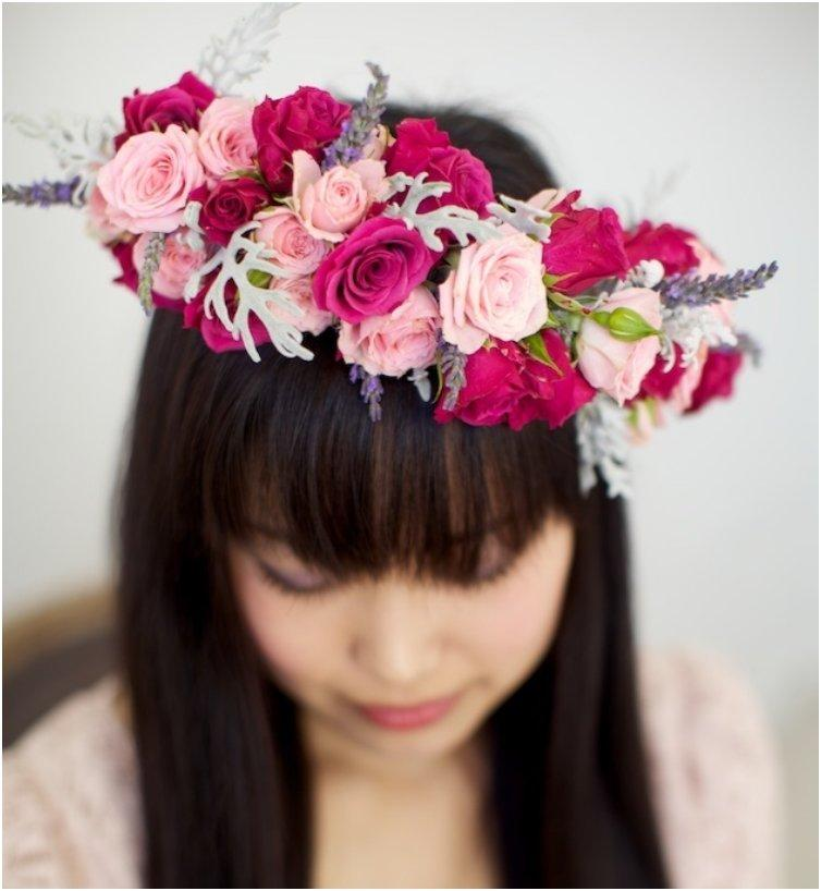 Wild Rose And Lavender Floral Crown