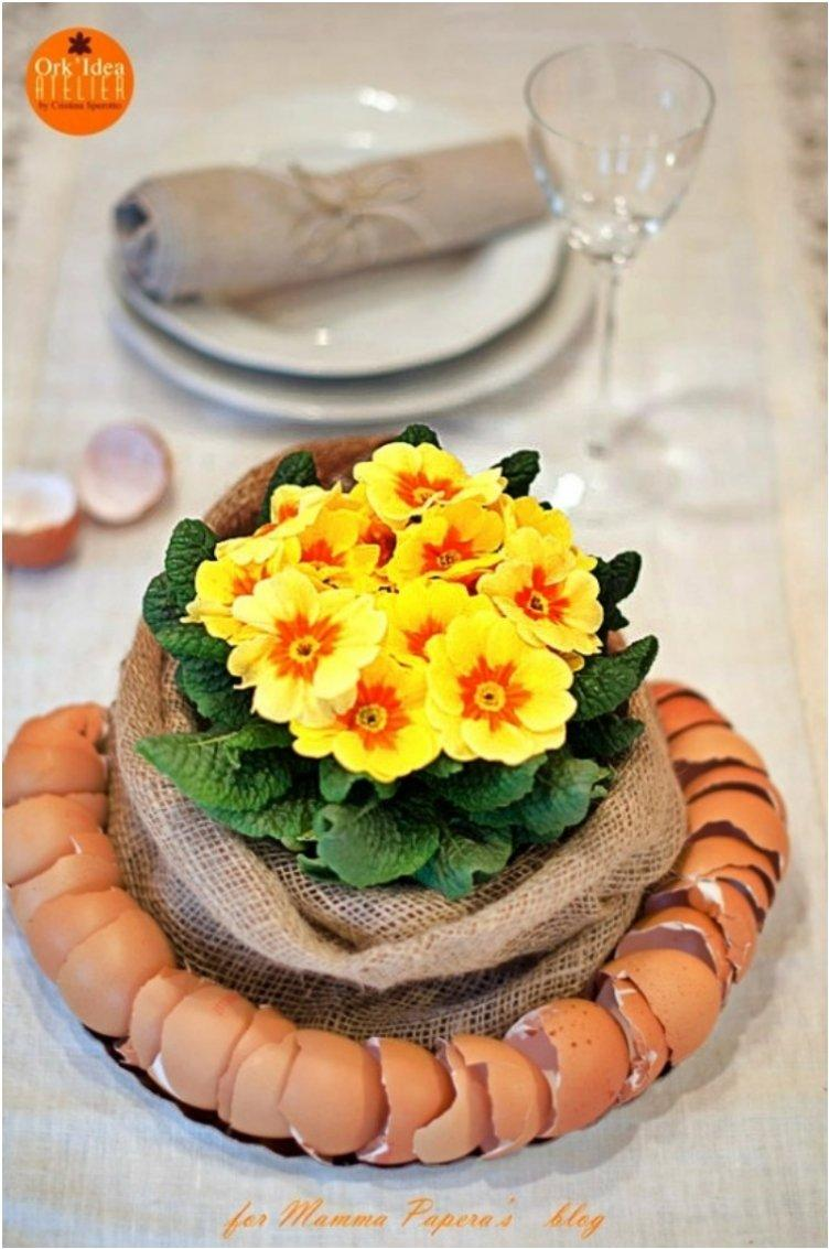 Burlap And Eggshell Centerpiece