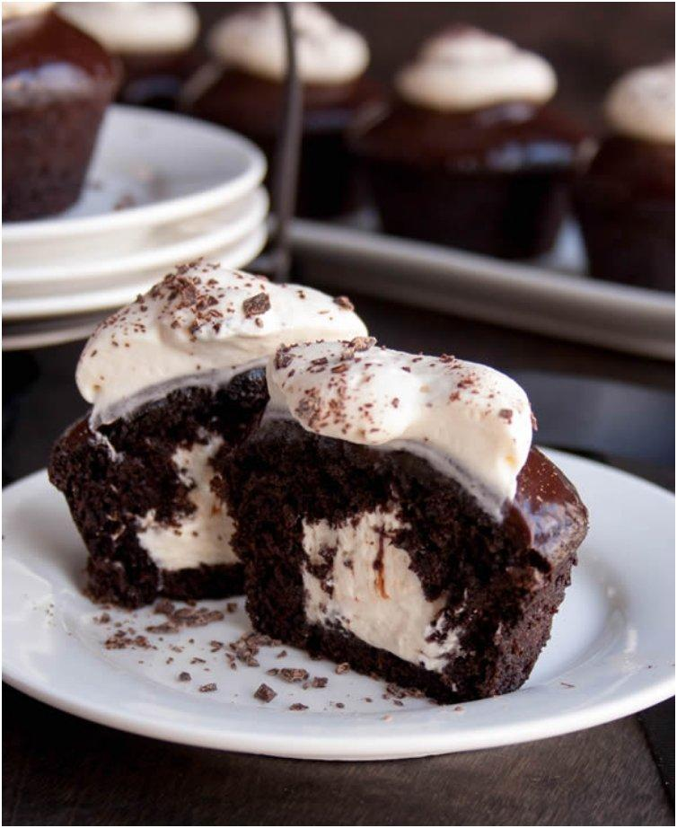 Chocolate Stout Cupcakes filled with Irish Cream