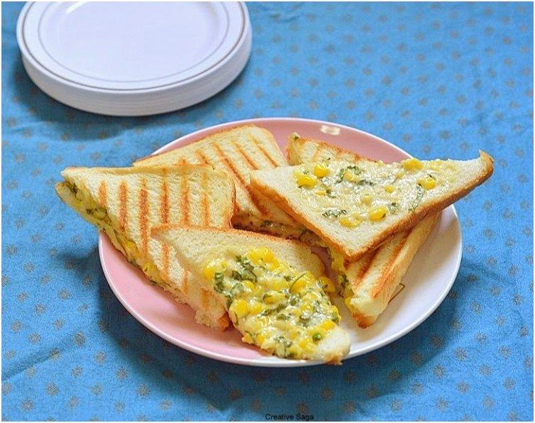 Corn Mayonnaise grilled sandwich