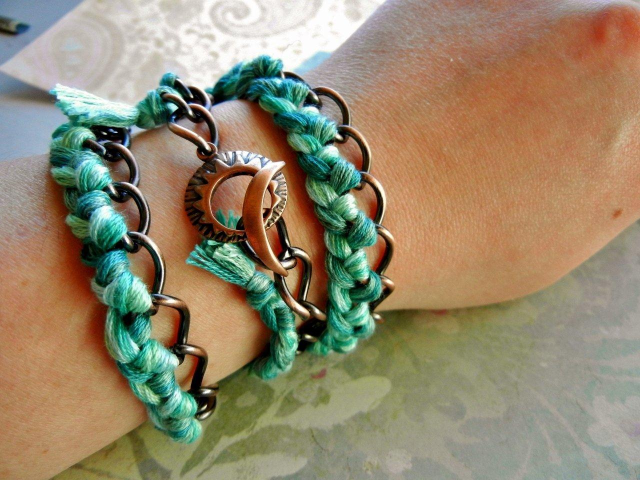 DIY BRAIDED TRIPLE WRAPPED CURB CHAIN BRACELET