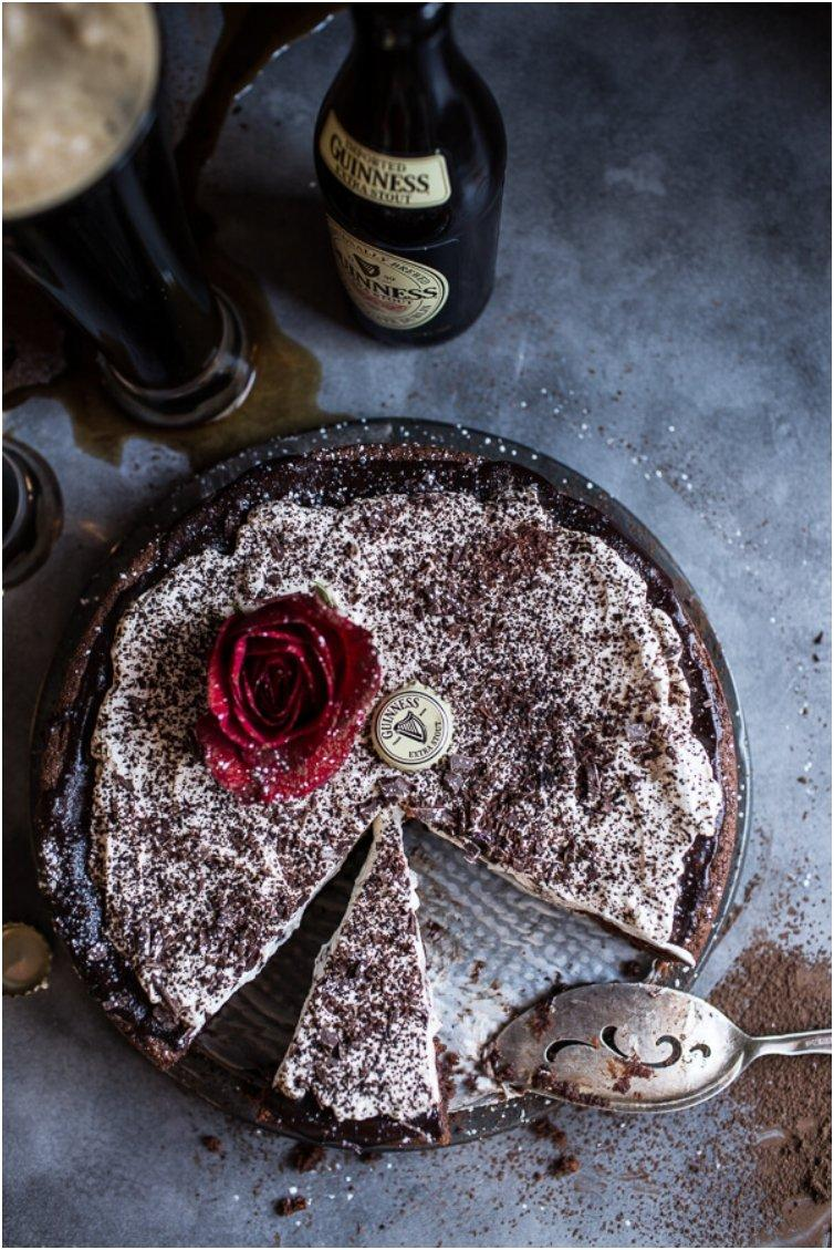 Drunken, Sunken Irish Coffee Chocolate Cake with Salted Baileys Cream.
