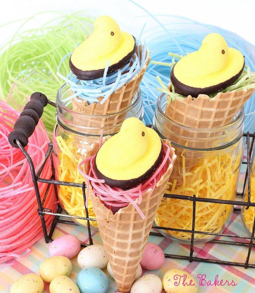 Easter Peeps Ice Cream Cones