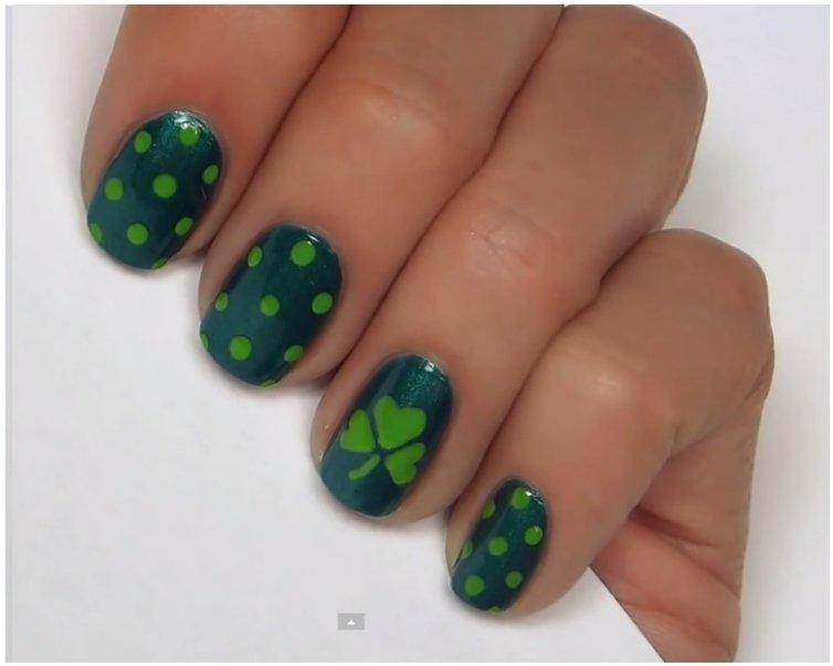 Green-On-Green-Polka-Dots-And-Shamrock-Nails