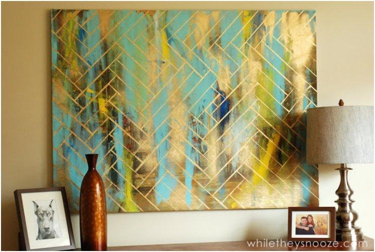 Herringbone Metallic Artwork