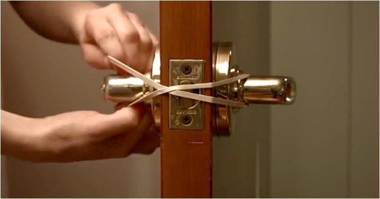 Loop A rubber Band Around the door handles if you want to prevenyour door from locing