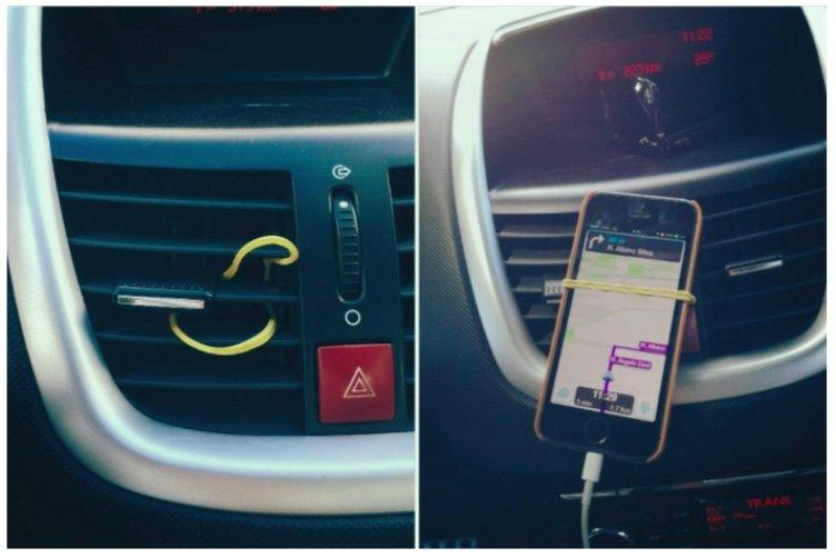 Make a phone holder for your car using a single elastic band