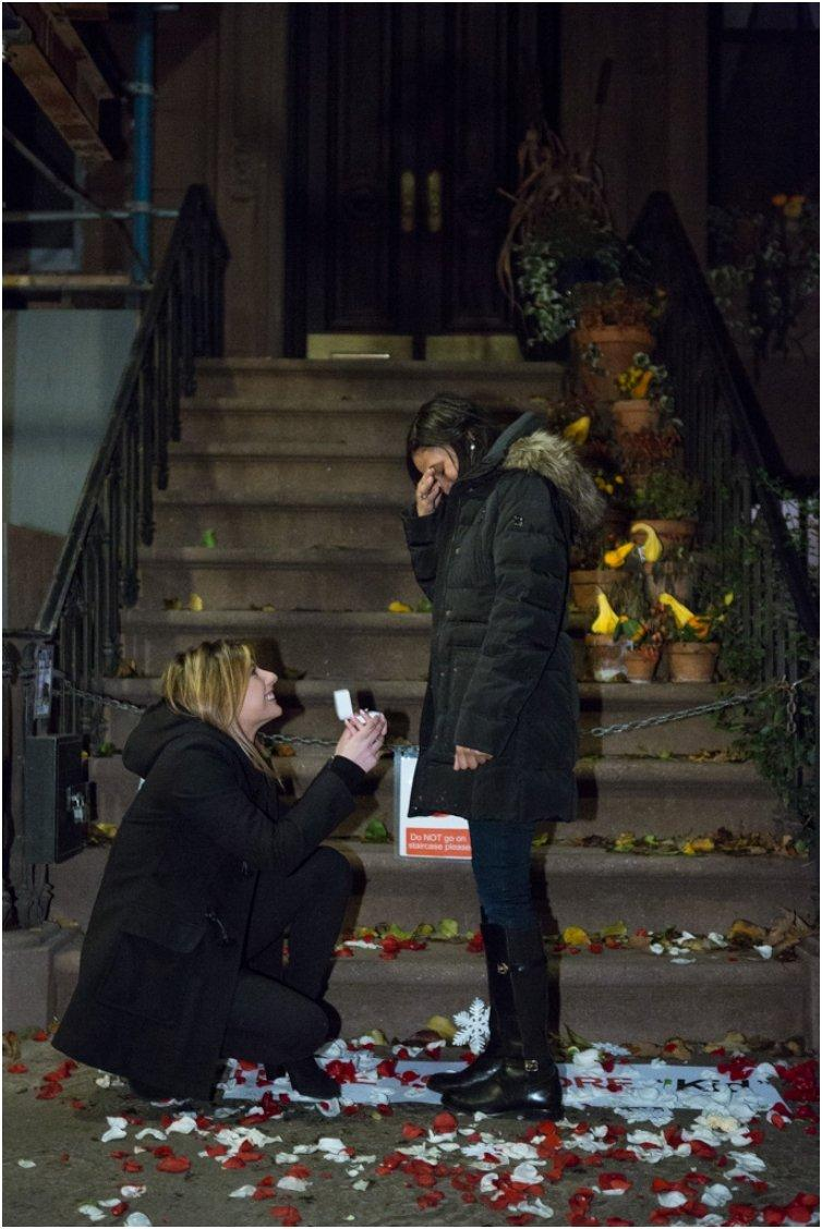 Marriage Proposal at front Carrie Bradshaw House from Sex and the City