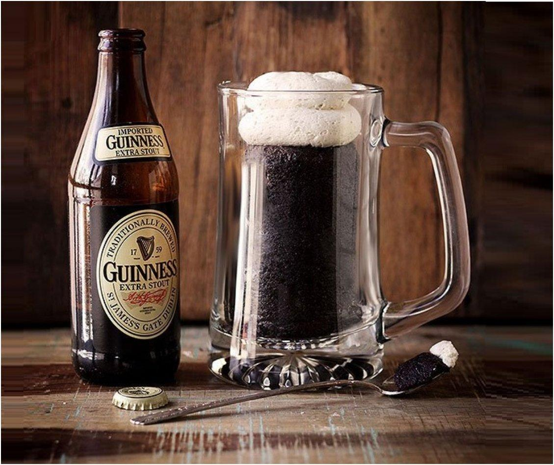 Pour a mug of Guinness cake