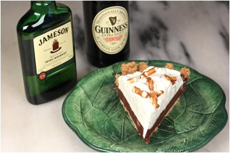 Pretzel-Crusted Chocolate Stout Pudding Pie with Jameson Whipped Cream