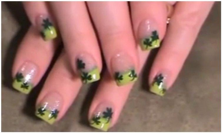 Shamrock On Lime Tip Nails