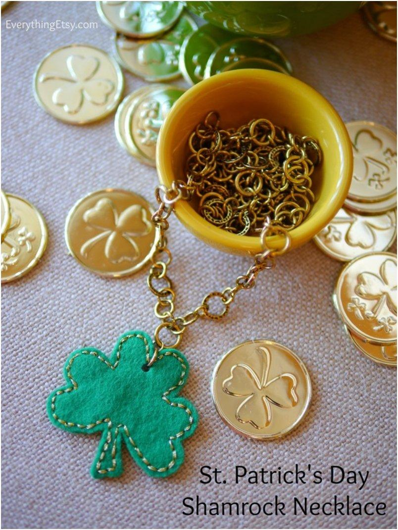 St. Patrick s Day Felt Shamrock Necklace