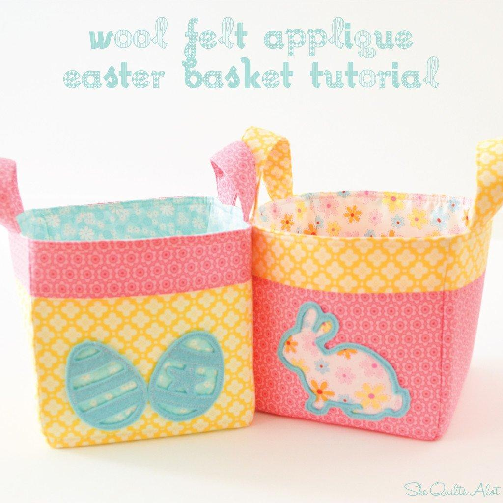 Wool Felt Applique Easter Baskets