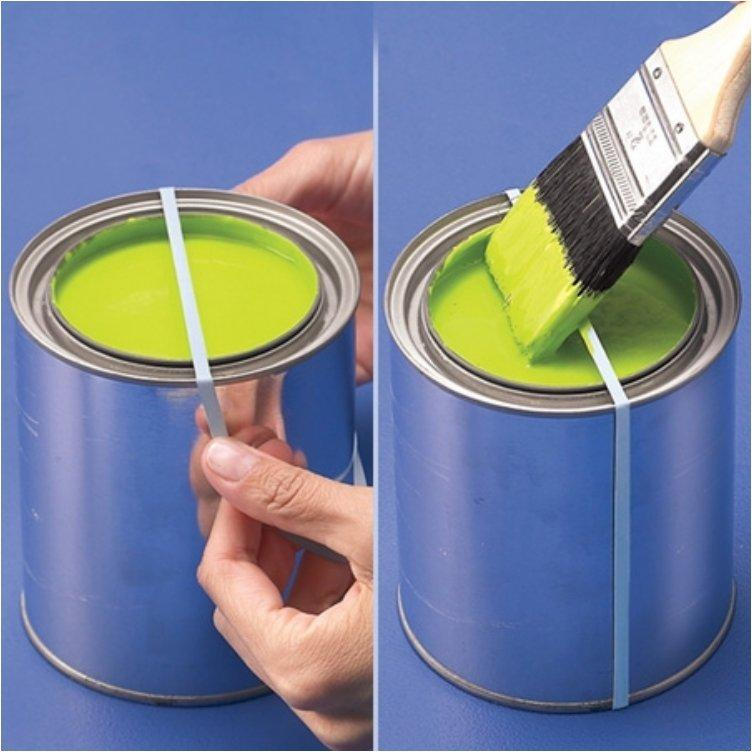 Wrap a rubber band around a paint can to wipe your brush and avoid a mess