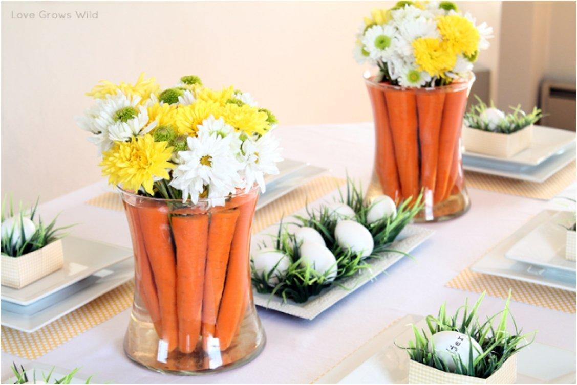 easter centerpiece with carrots