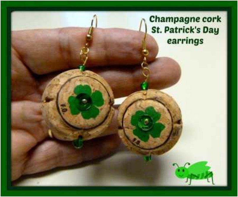 recycled champagne cork St. Patricks Day earrings
