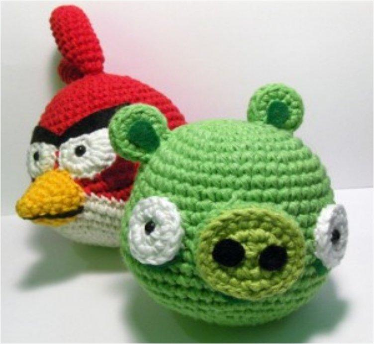 Angry Birds Red Cardinal and Green Pig Amigrumi Pattern