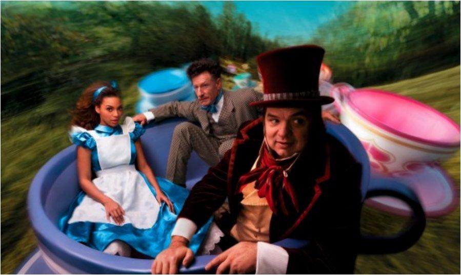 Beyonce, Oliver Platt, and Lyle Lovett as Alice in Wonderland, the Mad Hatter, and the March Hare