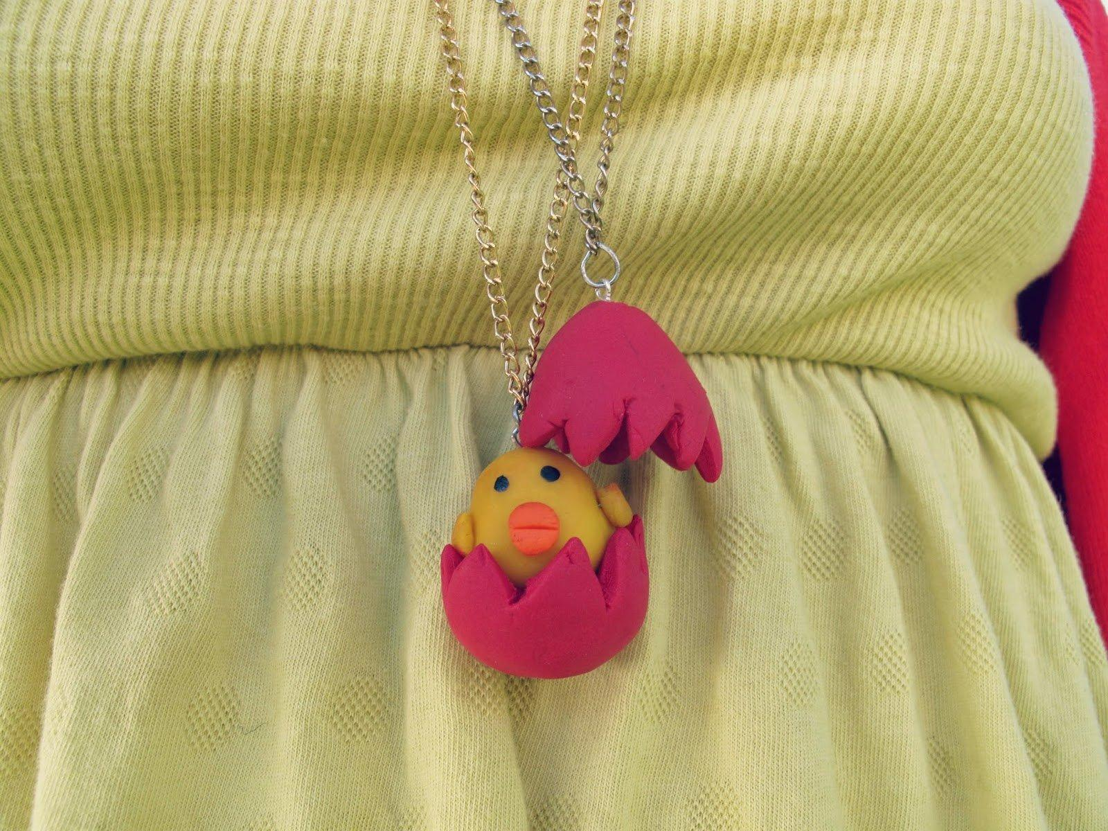 Easter chick in egg necklace