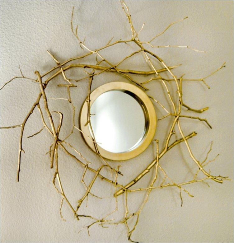 Golden Branch Mirror