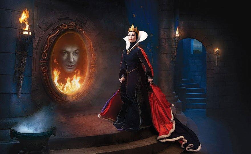 Olivia Wilde and Alec Baldwin as the Evil Queen and Magic Mirror from Snow White