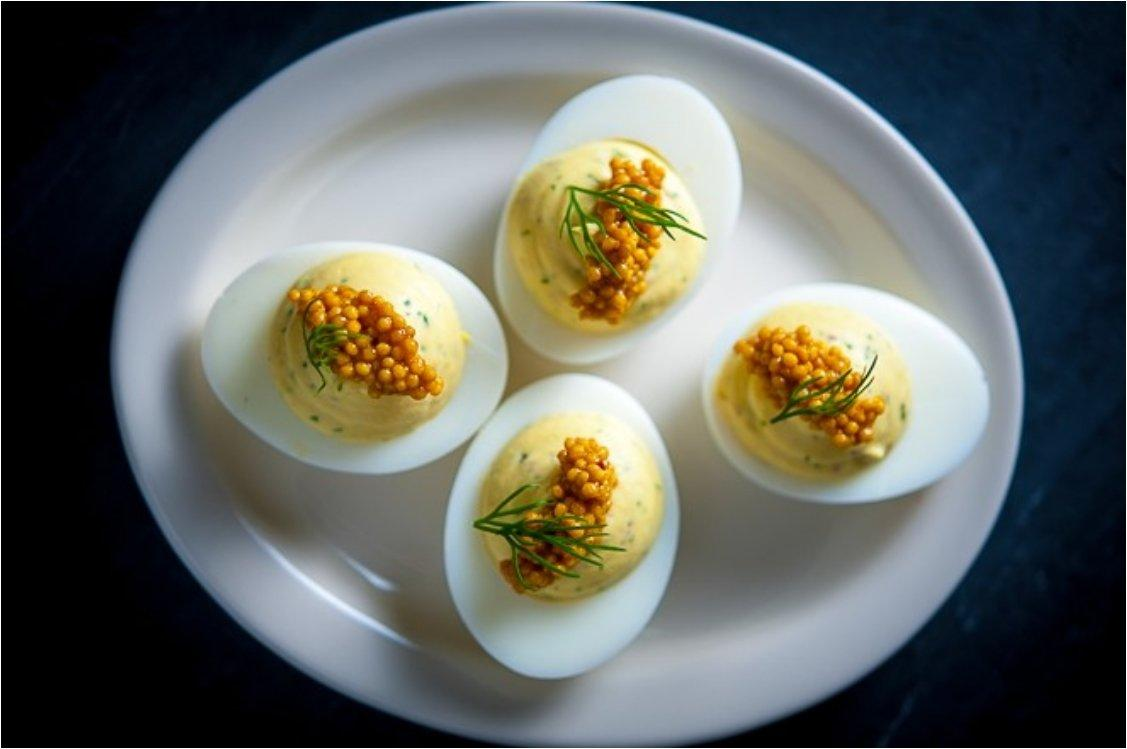 Pickled Herring Deviled Egg Mustard Seeds & Dill