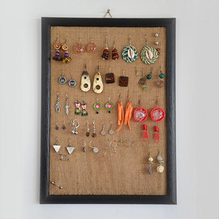Picture Frame burlap Earrring Display