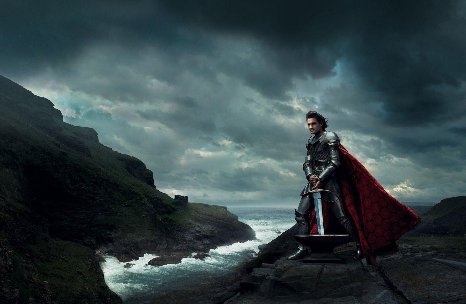 Roger Federer as King Arthur from The Sword in the Stone