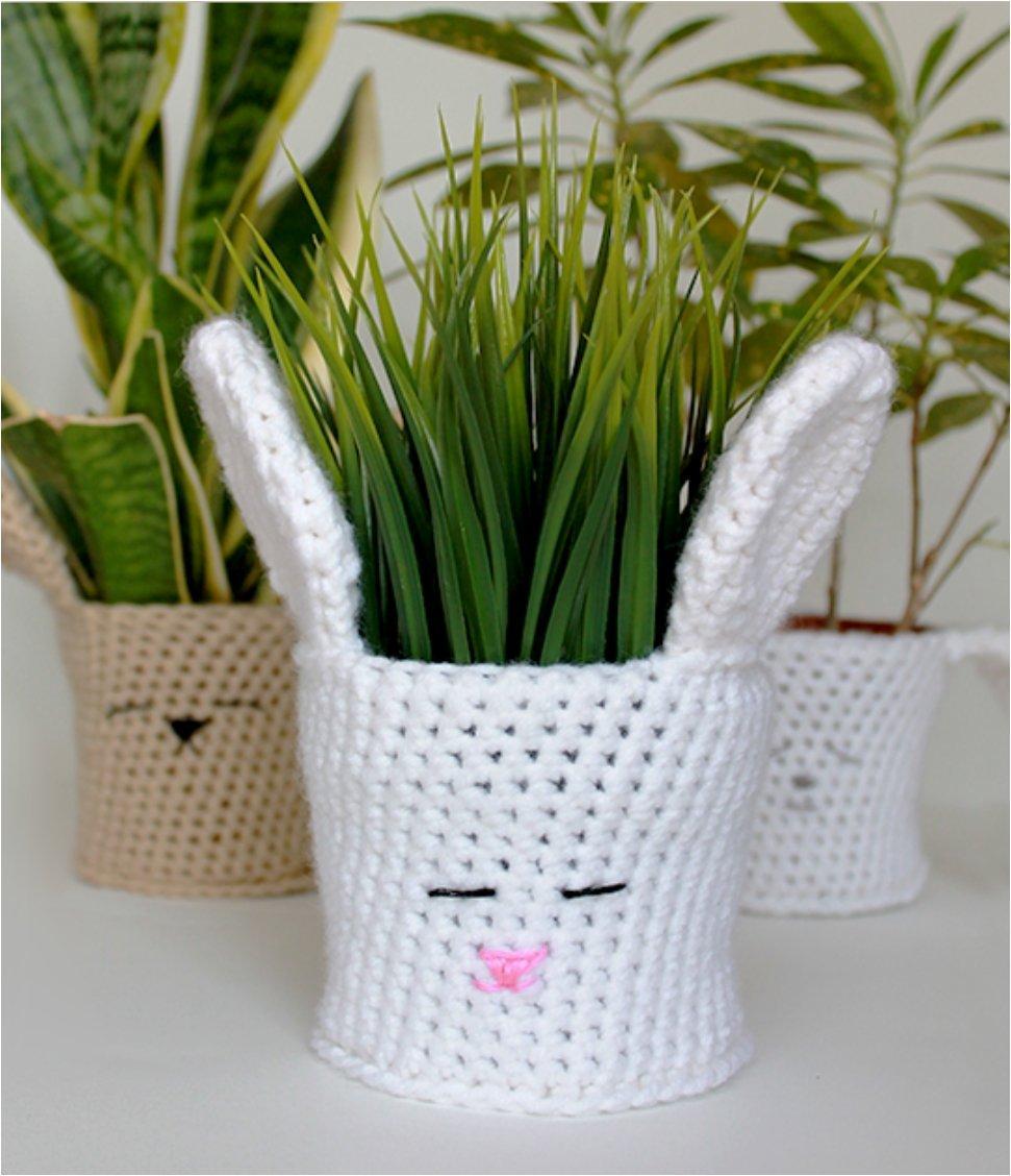 Spring Bunny Crochet Planter Cover