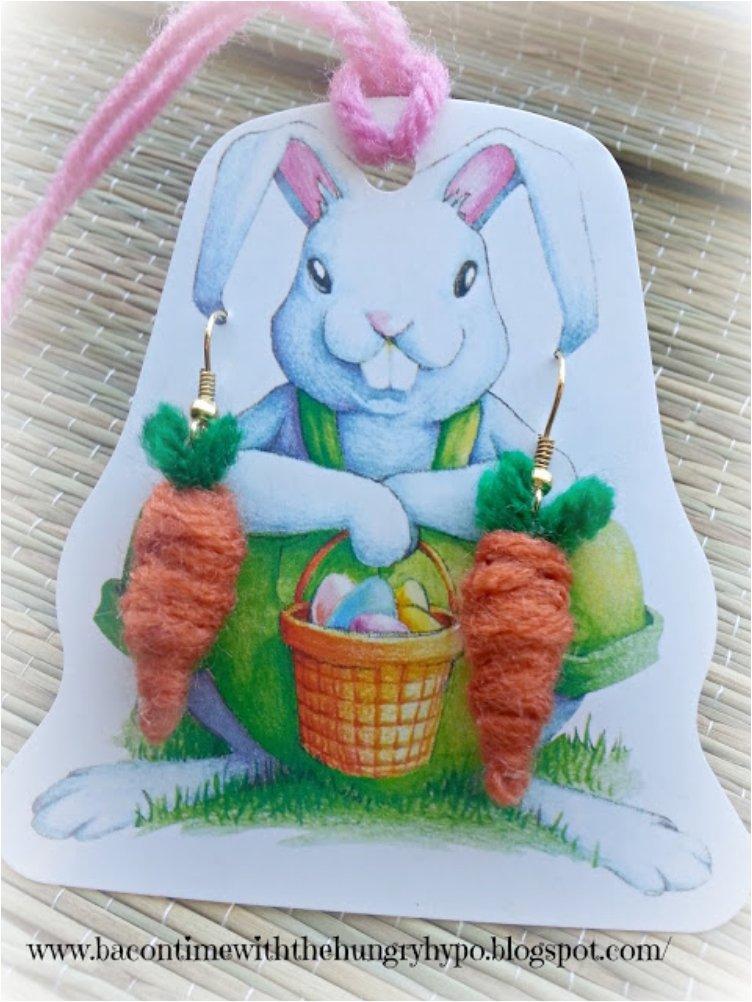 Spring Carrot Yarn Earrings
