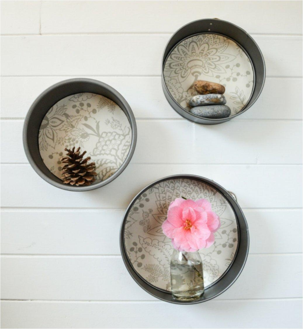 Cake Tins into Round Floating Shelves