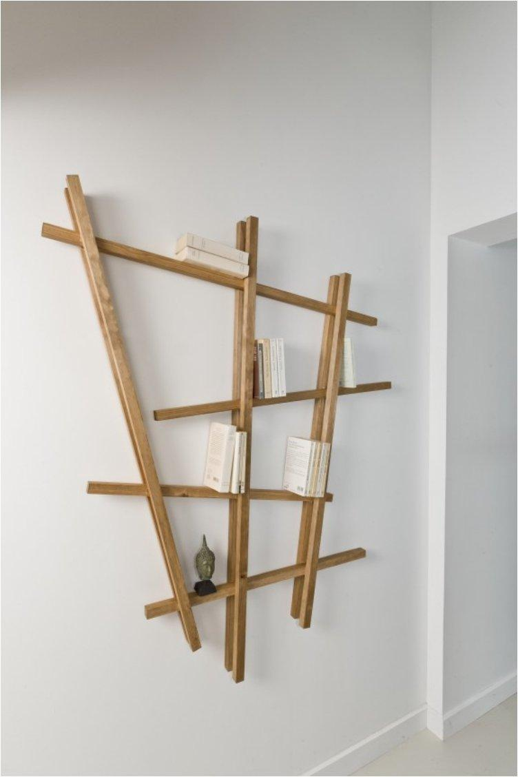 Sloping wooden shelf