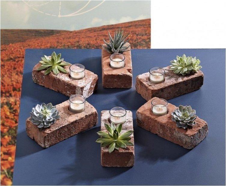Brick Succulent Planter Candle Holder
