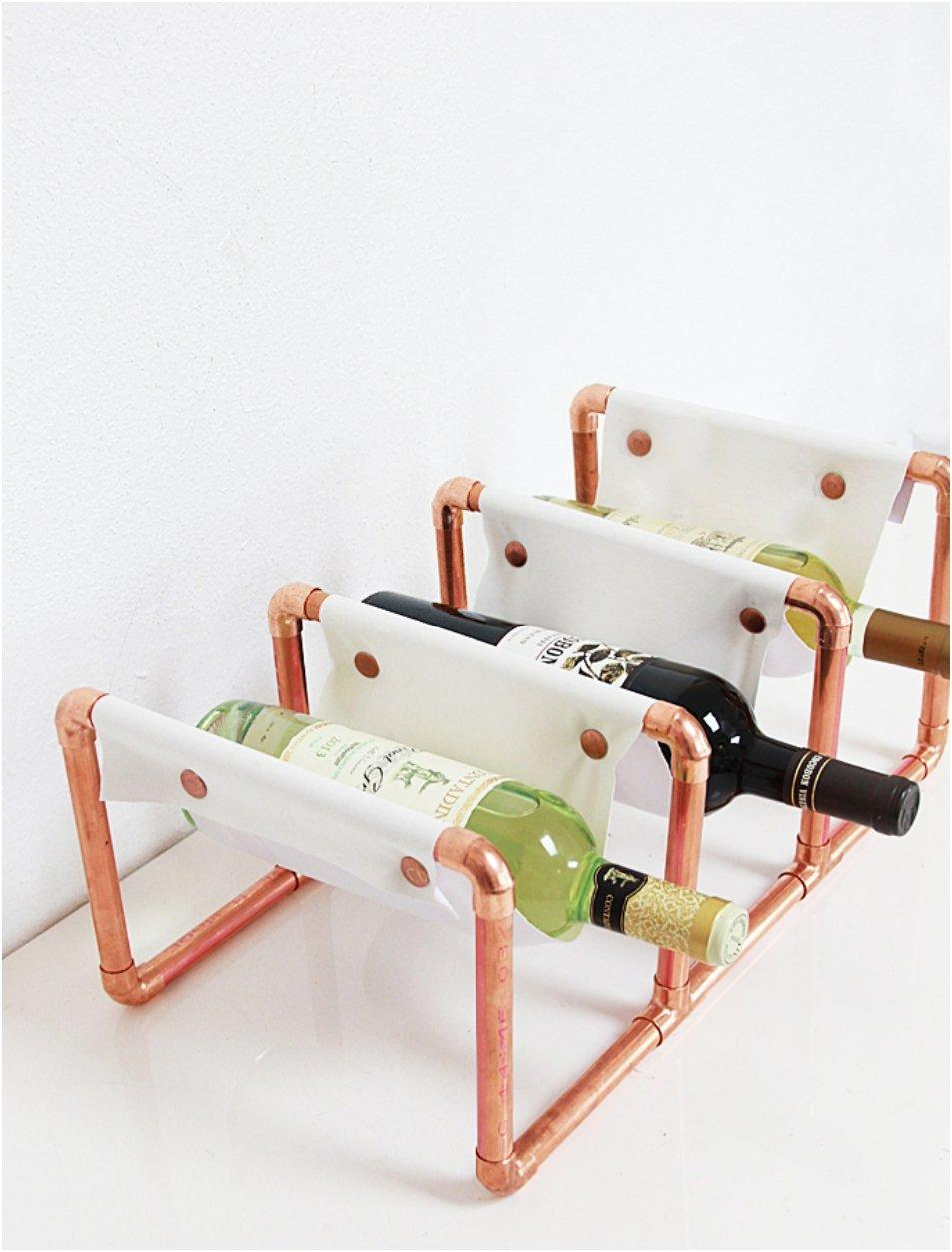 Copper Pipe & Leather Wine Rack