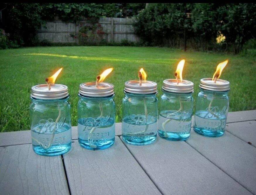 Mason Jar Citronella Torches