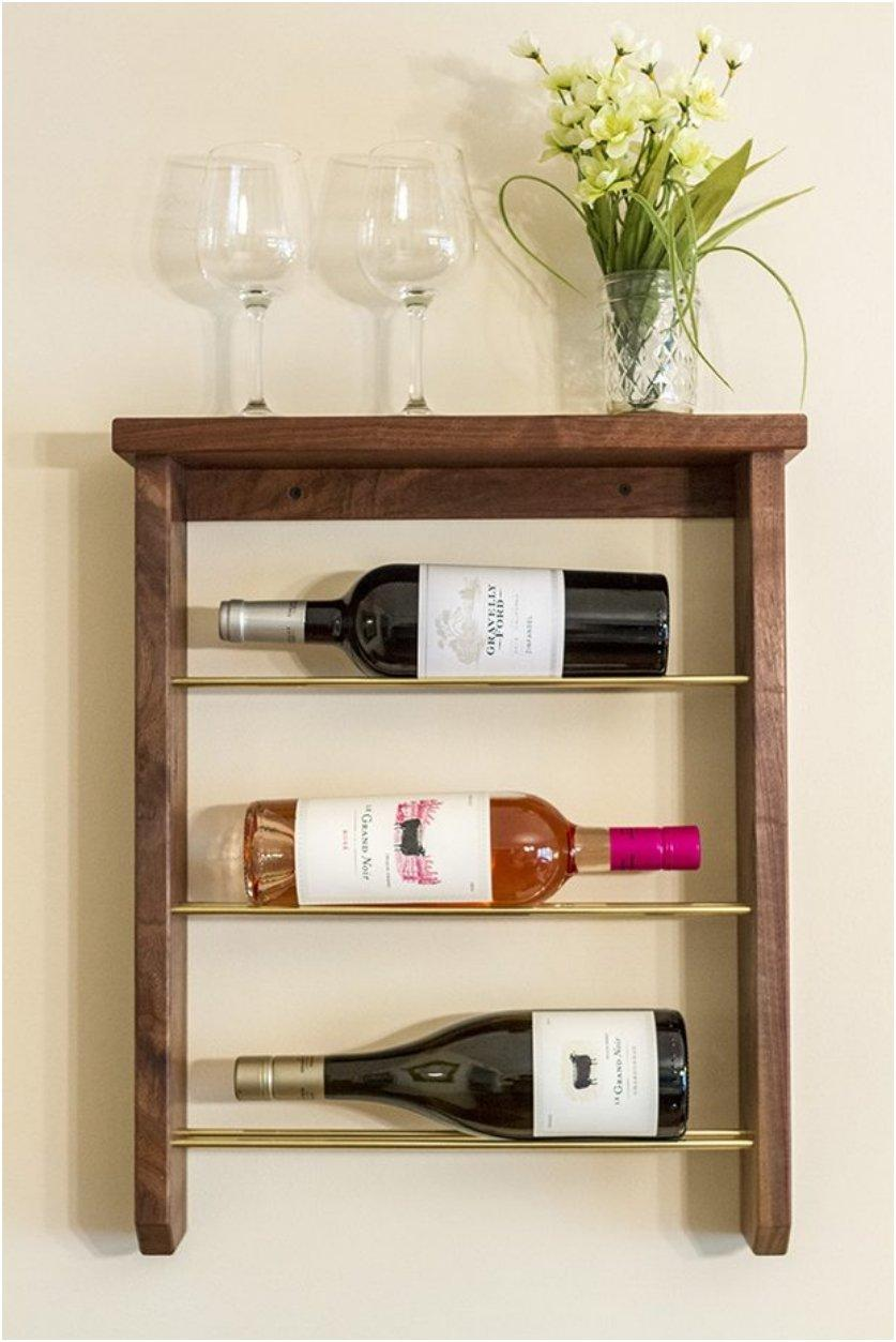 Wood And Brass Wine Rack