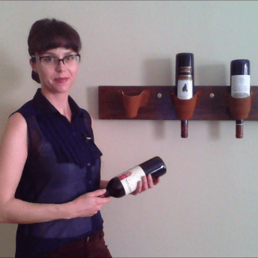 Wood And Lether Pouch Wine Rack