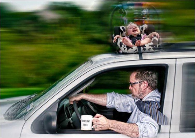 cool-best-father-baby-funny-photography-chicquero-late-for-work-car-ride