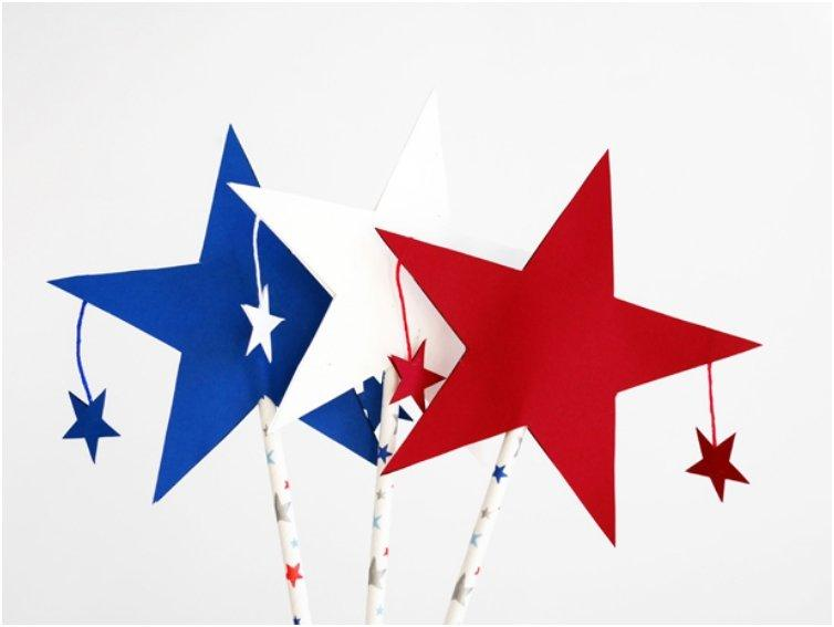4TH OF JULY PATRIOTIC STAR WANDS