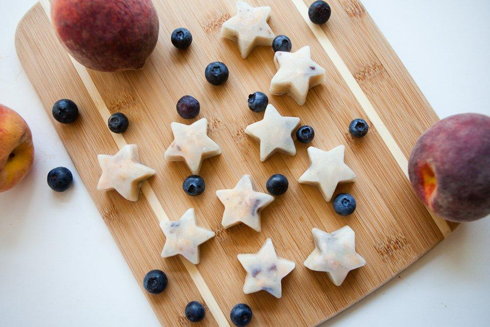 Frozen Coconut Peach Blueberry Bites