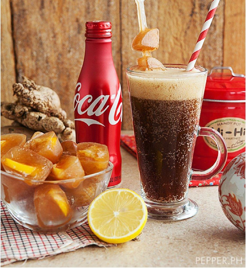 Ice Cubed Ginger Tea with Coke