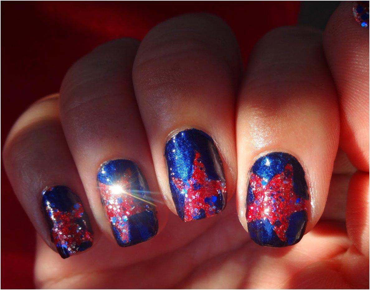 Red Glittered Stars On Blue