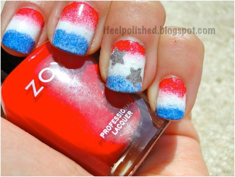 Sponged Gradient Patriotic  Nails
