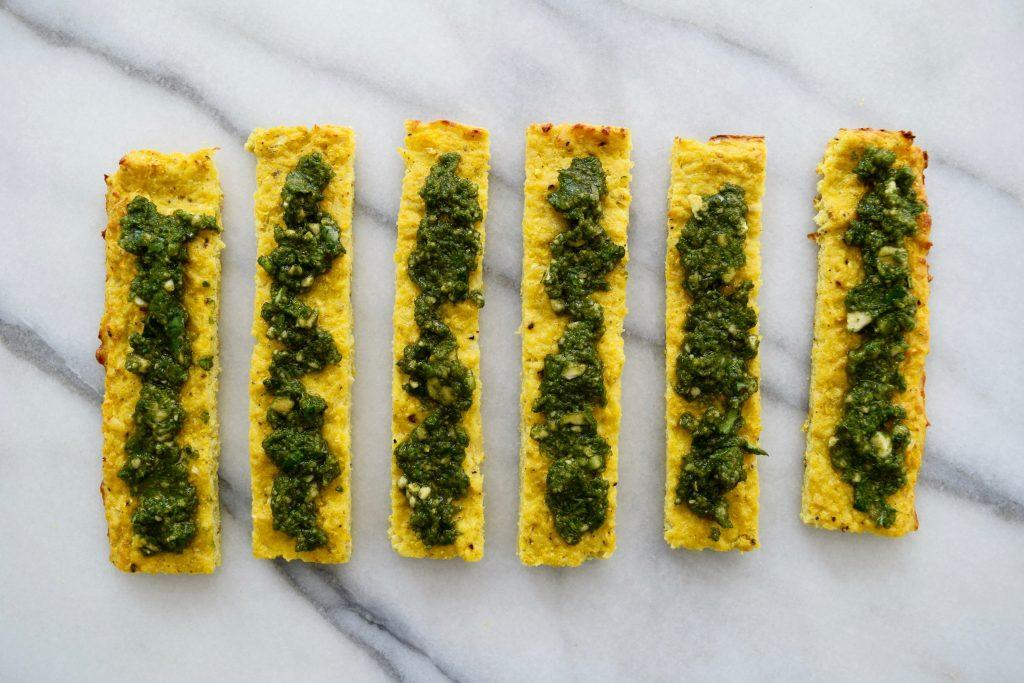 Tasty Golden Garlic Bread Topped with Cashew Basil Pesto