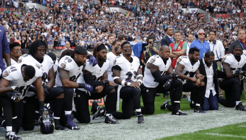 Several Ravens And Jaguars Players Kneel During The National Anthem In London
