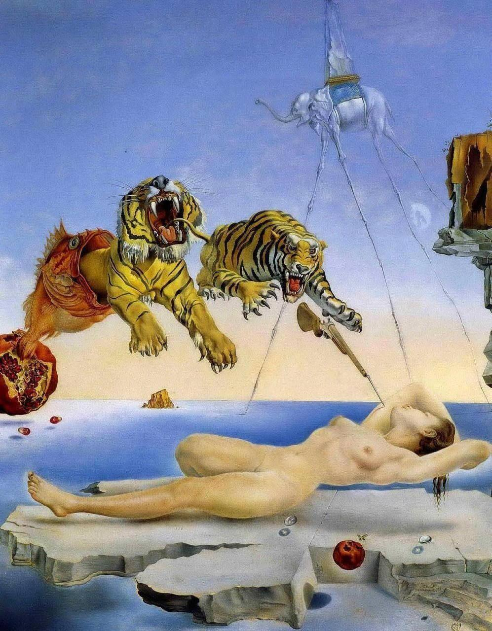 Dream Caused by the Flight of a Bee - Salvador Dali Paintings