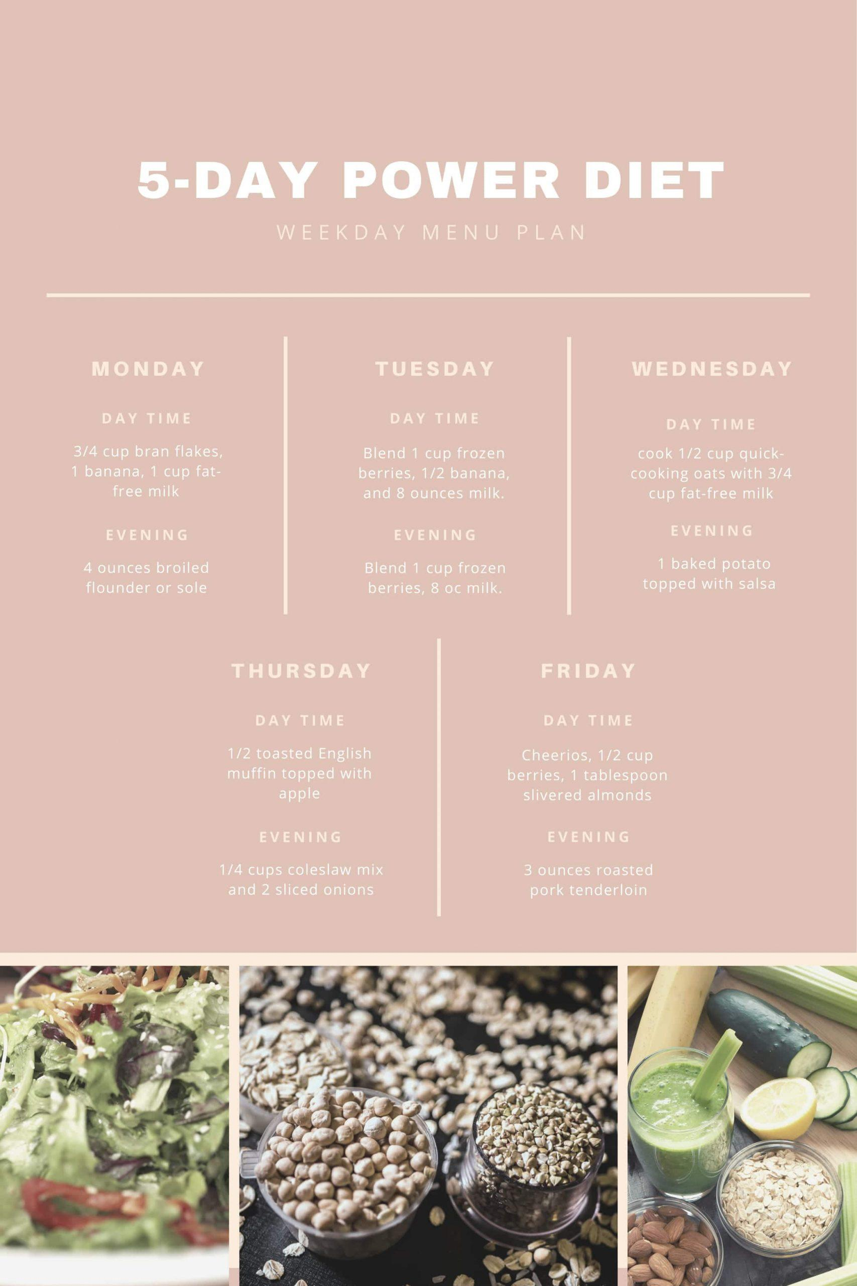 Power Diet Weekly Menu Plan