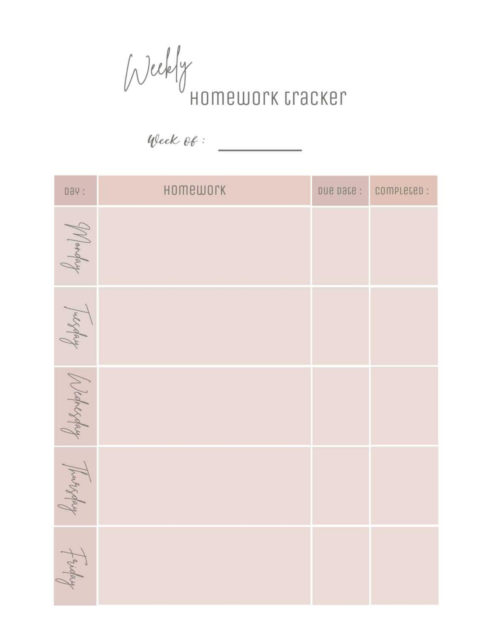 Weekly Homework Tracker